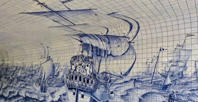 Delft blue tile painting in Amsterdam bike tunnel